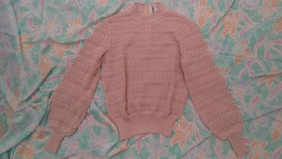 Vintage CASTLEBERRY Bubblegum Pink Crochet Knit Sw