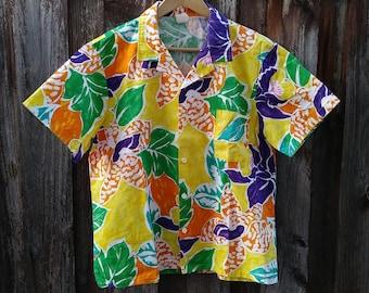 Vintage 70s/80s BALBOA Ultra Colorful Floral Hawaiian Shirt Size L