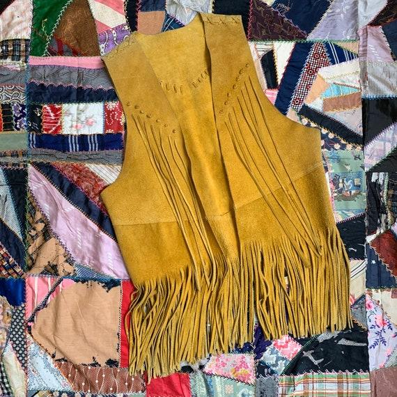 Vintage 70s Mustard Suede Fringe Vest