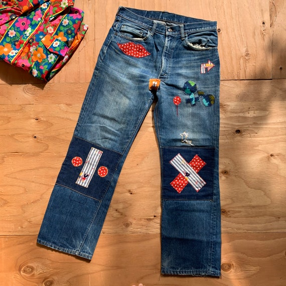 Vintage Levi's Big E Reworked Colorful Patterned P