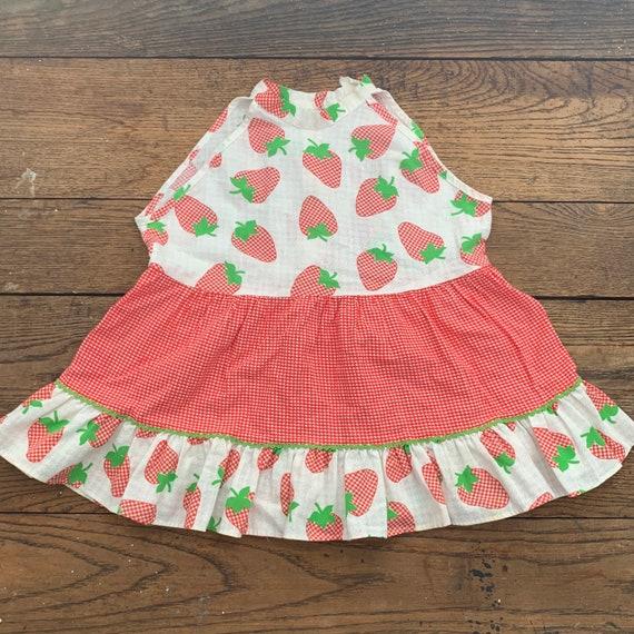 Vintage 70s Kids Strawberry Dress / 70s Strawberry