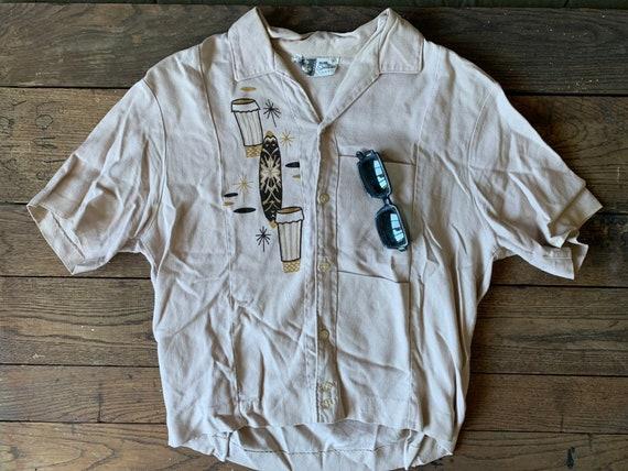 50s IOLANI Hawaiian Tiki Shirt Size S