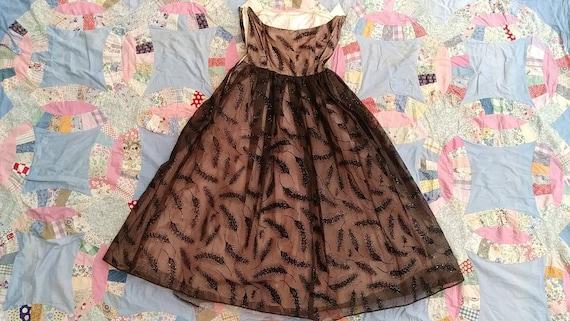 50s wheat rainbow glitter prom dress size xs - image 9