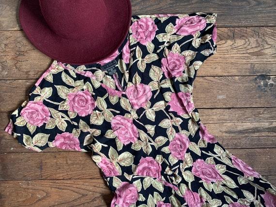 Vintage 80s Starina Purple Rose Rayon Midi Dress