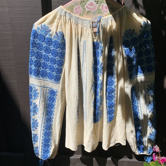 Vintage Hungarian Embroidered Blouse Size S