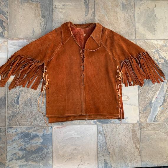 Vintage 70s Fringe Suede Capelet / Fringe Jacket - image 3