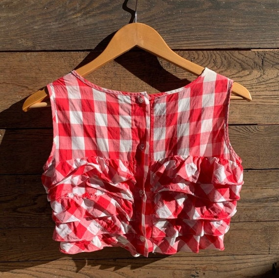 Vintage Gingham Ruffle Crop Top - image 2