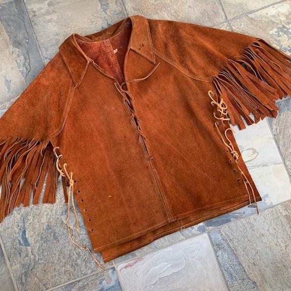 Vintage 70s Fringe Suede Capelet / Fringe Jacket