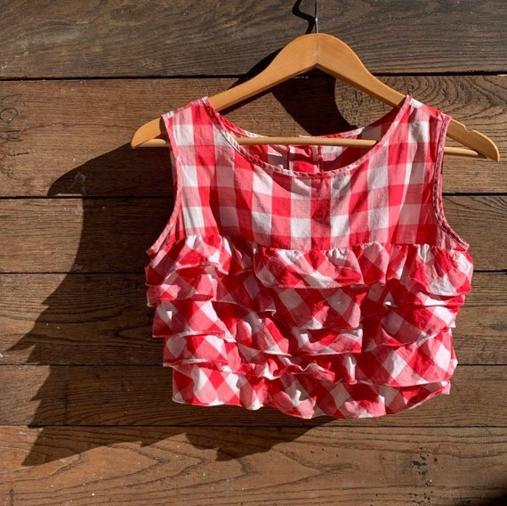 Vintage Gingham Ruffle Crop Top - image 1