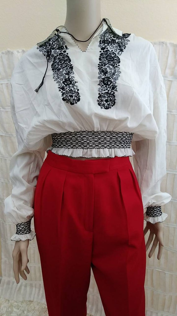 Vintage Hungarian Embroidered Cropped Blouse