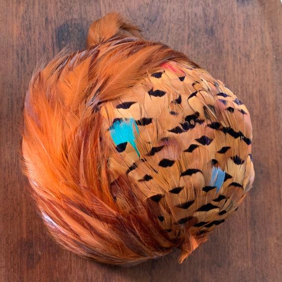 50s / mid century feather half hat