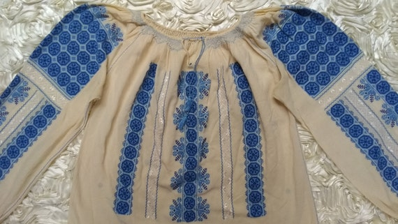 Vintage Hungarian Embroidered Blouse Size S - image 6
