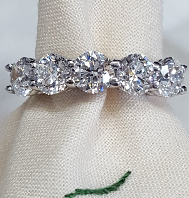 GIA certified 2.50ct. diamond ring in platinum with five image 0