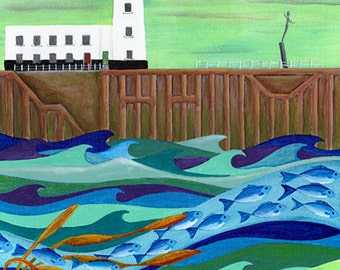 Heading for Open Water - Scarborough - Limited Edition Fine Art Print from an Original Artwork by Bridget Wilkinson