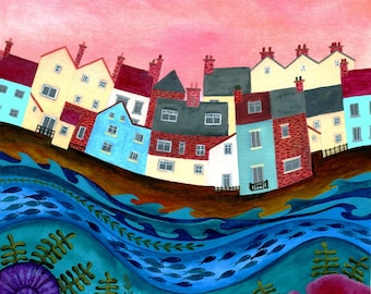 Against the Harbour Wall - Limited Edition Fine Art Print from an Original Artwork by Bridget Wilkinson