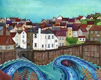 Robin Hood's Bay - Limited Edition Fine Art Print from an Original Artwork by Bridget Wilkinson