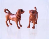 Intricately Carved - Boxwood Puppy Dog Ojime Netsuke Bead 29x33x10mm Brown