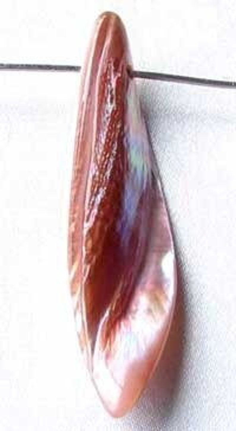 Designer Blade Cut Pink Mussel Shell Pendant Bead 4423D