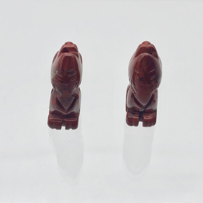 Red 21x11x8mm New Moon 2 Carved Red Jasper Wolf Coyote Beads