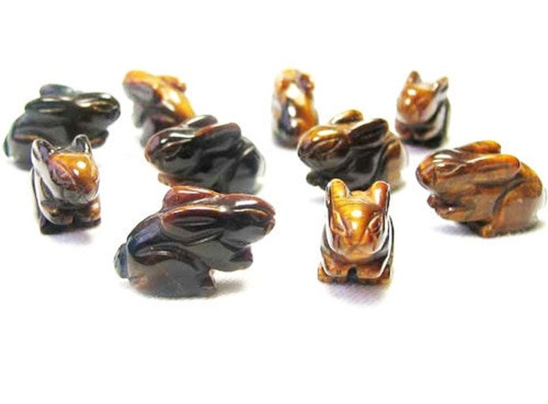 22x12x10m Hoppy 2 Hand Carved Tigereye Bunny Rabbit Beads Golden Brown