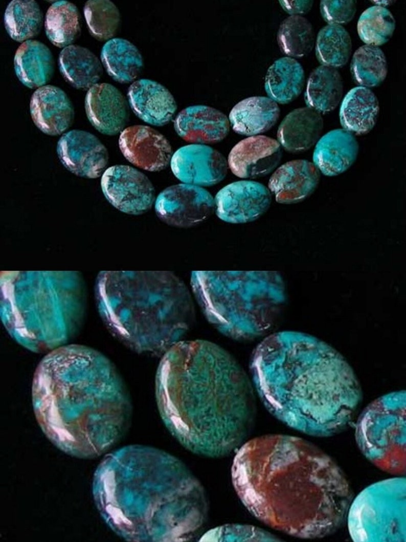 Natural Chrysocolla 16x12mm Oval Bead Strand 110423