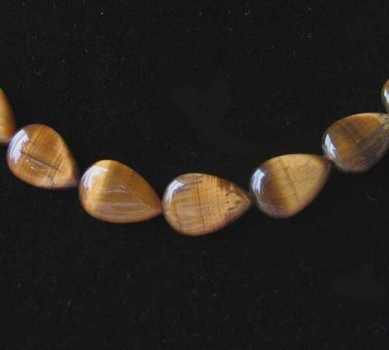 Shimmering Tigereye Teardrop 15x10mm Bead Strand 110242