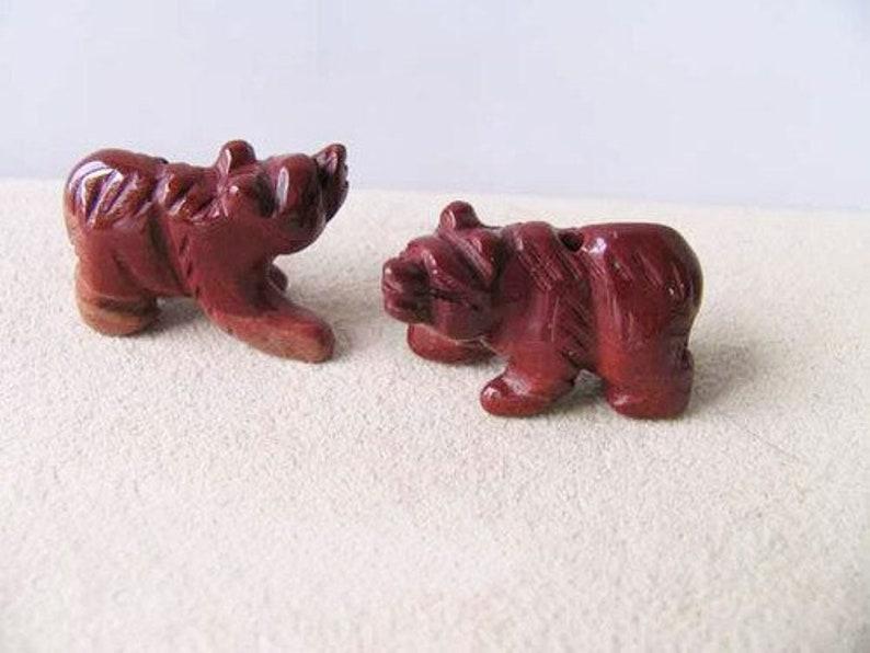 Dark Brick Red 13x18x9mm 2 Hand Carved Brecciated Jasper Bear Beads