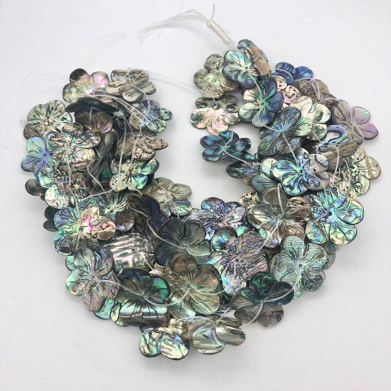 28x27x3mm 2 Beads Purple Abalone FlowerPlumeria Pendant Beads