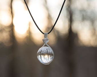 """Quartz Crystal Ball """"Water Protector"""" Necklace"""