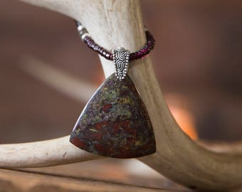 Stunning Dragon Blood Jasper Shield on Glowing Garnet Rondelle Necklace