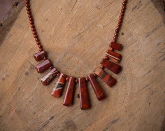 Red Jasper Stick Necklace