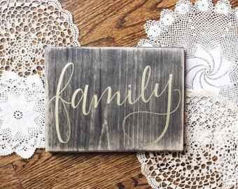 Family Wood Sign, Family, Family Decor, Handmade, Handwritten, Gift Giving, Farmhouse Decor, Custom Wood Sign