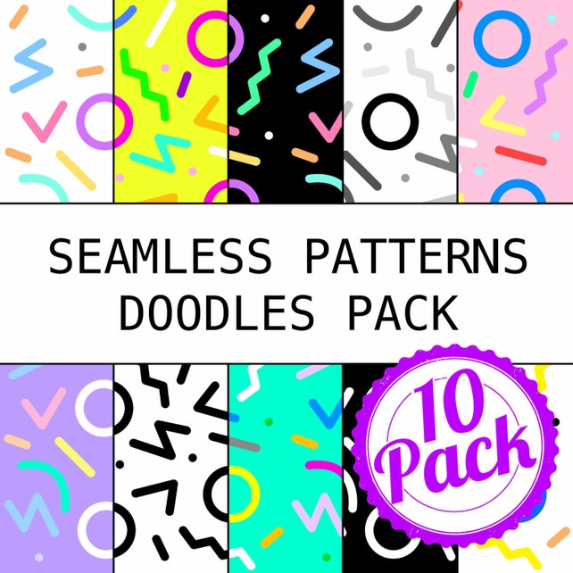 Imprimibles patrones sin fisuras 90s garabatos papel | Etsy