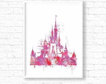 Great Pink Disney Castle Watercolor, Disney Wedding, Disney Watercolor Art Print,  Pink Castle Print, Watercolor Art Disney, Disney Wall Art,ET303