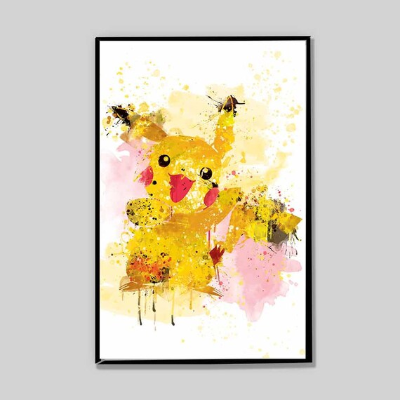 CLEARANCE! Pokemon go, pikachu poster, pokemon go gifts, birthday gifts,  splatter painting, geek gift, geek art, dorm decor _19