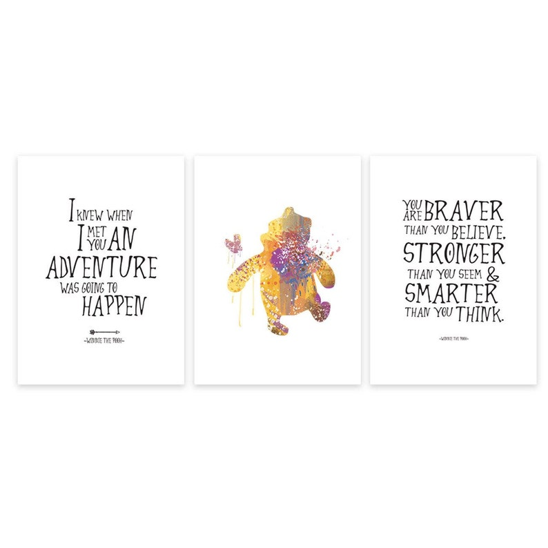 winnie the pooh quote set of art posters disney quotes