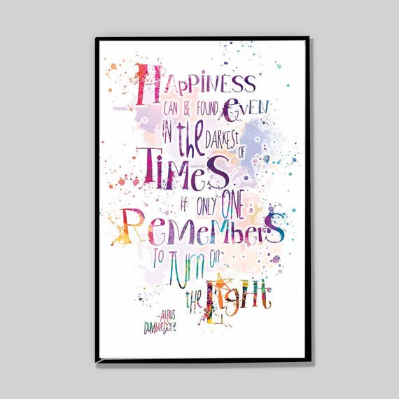 Clearance Albus Dumbledore Quote Happiness Can Be Found Watercolor Print Geek Gifts Drom Room Decor College Gifts Movie Poster 43