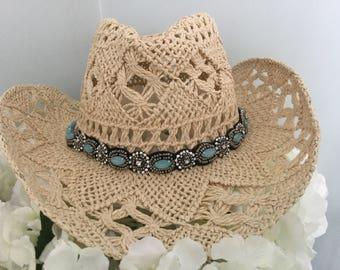 Aussie beach crochet cowgirl hat 01f85da34aed