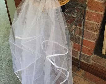 d36b7e49770fe Add a removable veil to your Nashelorettes cowgirl hat Texas Bride to be  cowboy wifey wedding shower hens bachelorettes party veil au made