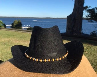 Aussie cowgirl black hat multicoloured bead band Australian western line dancing hat 21st 18th party festival rodeo Nashville cowboy