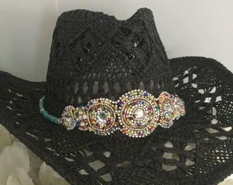Aussie or Ibiza crochet cowgirl hat boho gypsy band embellishment Nash Bash  Nashelorettes western birthday festival rodeo Nashville birthday 95295e328449