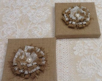 2 x Australian made Rustic Hessian Burlap Wall frames with handmade burlap and lace flowers.