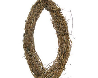 SET OF 6 Shabby Rustic Wedding Party Brown Grapevine Wreath Round 4 inches