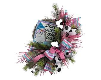 Christmas wreath, Christmas Door Hanger, Large Christmas wreath, Funny Christmas Wreath, snowman wreath, christmas calories