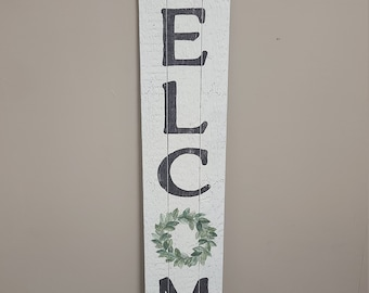 Welcome - Green Wreath Welcome- Porch Leaner