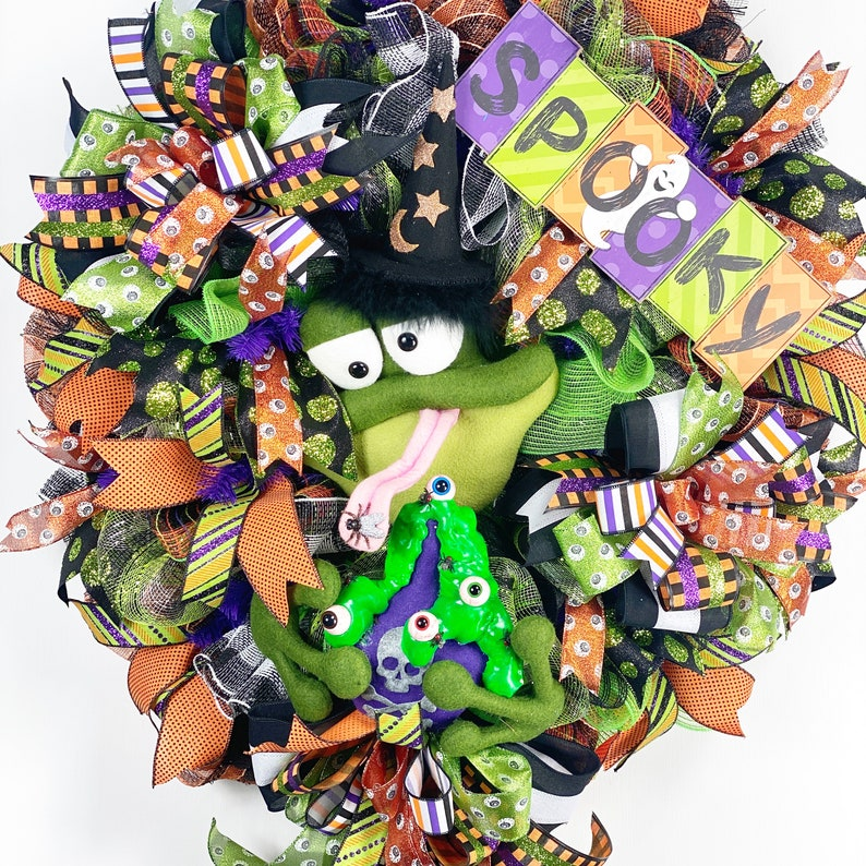 Halloween Wreath frog Wreath Witch Wreath Halloween image 0