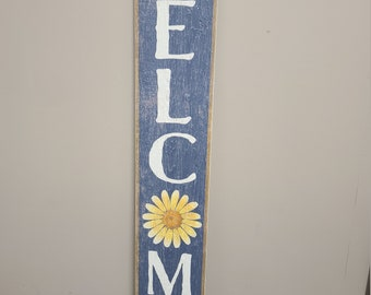 Welcome - Welcome Blue with Yellow Daisy - Porch Leaner