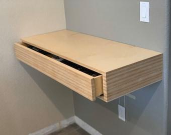 Floating plywood desk