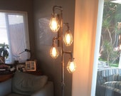 Pipe Floor Lamp Antique Metal Cage 4-fixture INCLUDES Dimmer Switch does not include Bulbs