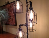 Pipe Floor Lamp INCLUDES 4 BULBS INCLUDES Dimmer Switch 4-fixture Metal Lamp Guard Bulb Cage